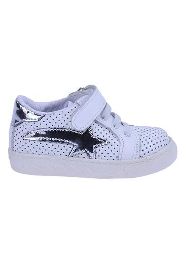 Kiko Kids Kiko Kids Teo S-2010-1 %100 Deri Orto pedik Cırtlı Kız Çocuk Ayakkabı Gümüş